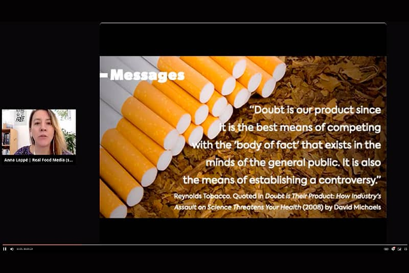 Slide from Anna Lappe's food industry presentation
