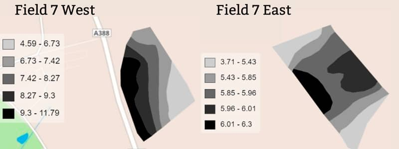 Field 7 East and West Electro-conductivity results
