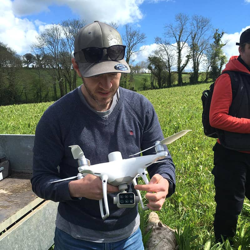 Dr Tim Daley of University of Plymouth with his drone used for biomass analysis
