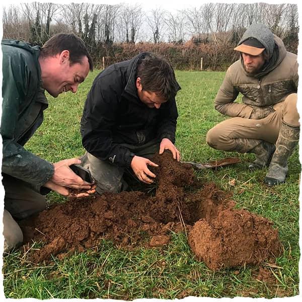 Anthony Ellis performs soil analysis at Melilot Farm