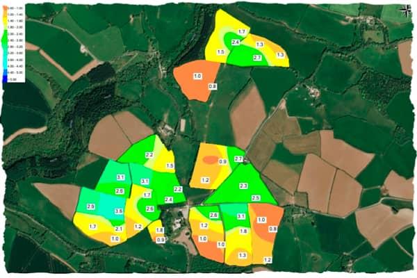 Phosphorus soil scanning map results